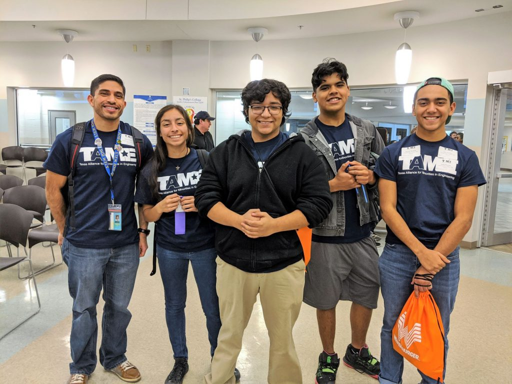 Four TAME students and their teacher and TAME Club Sponsor from STEM Early College High School in San Antonio.