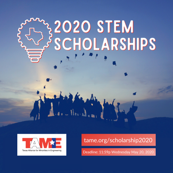 "College graduates silhouetted against a sunset, with the TAME logo in the corner and the words ""2020 STEM Scholarships"" at the top and the scholarship deadline listed below."