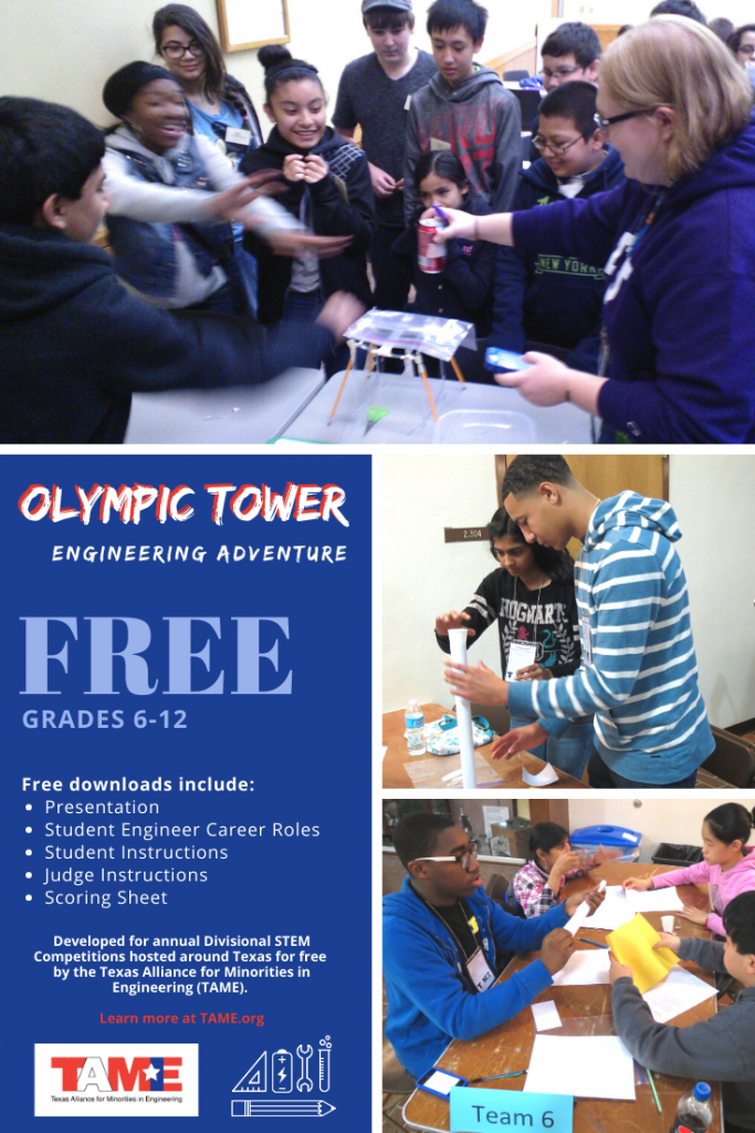 a collage of photos of students building Olympic Tower prototypes.