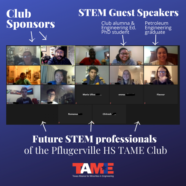 A graphic with a screenshot of a Zoom call showing students and STEM Role Models connecting in a virtual TAME Club meeting.