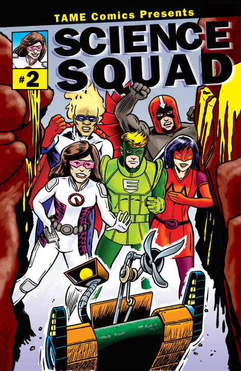 """A comic book cover with five superheroes running through a canyon with a robot that looks like the Mars Rover. Toxic yellow liquid rushes down the rocks towards them. The top of the comic reads """"TAME Comics Presents SCIENCE SQUAD #2"""" Descriptions of the superheroes: Aero is a man with light skin and a red helmet that has a down arrow on it; Morph is woman with light skin, red face mask and gloves, and blue hair; T-Blaze is a man with dark skin, small blue mask, and flames around his head; Quantum is a woman with medium brown skin, brown hair, and red mask; Eco is a light-skinned man with blonde hair and a green mask."""